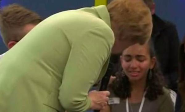 Angela Merkel Palestinian Girl Cry